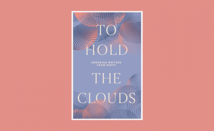 The image of a book cover sits on a deep dusty pink background. The book cover says TO HOLD THE CLOUDS in cream and is surrounded by pink and purple swirling cloud shapes on a deep dusty blue background.