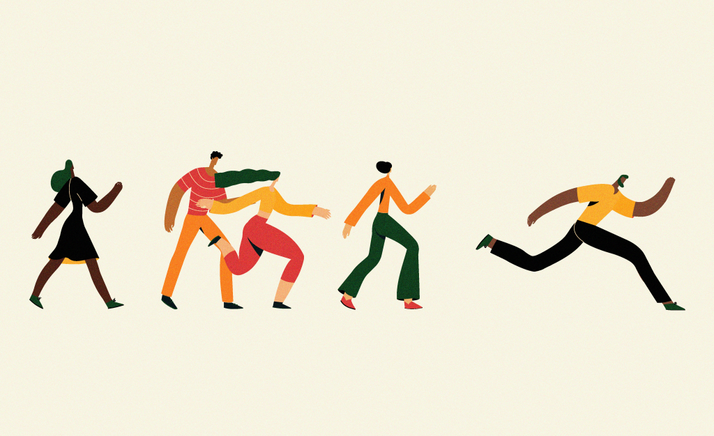 An illustration of many different people from diverse backgrounds walking and running together on the same path.