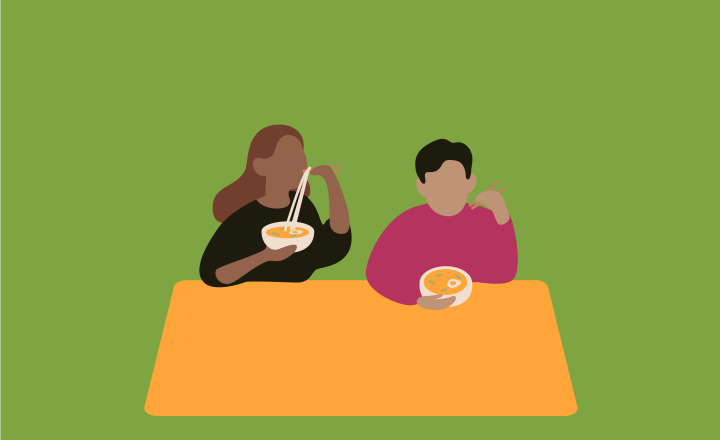 Illustration of two people eating noodle soup