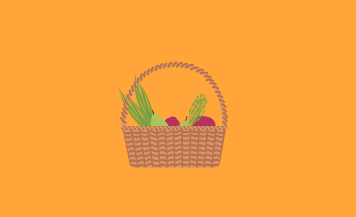 Illustration of a basket of fruits