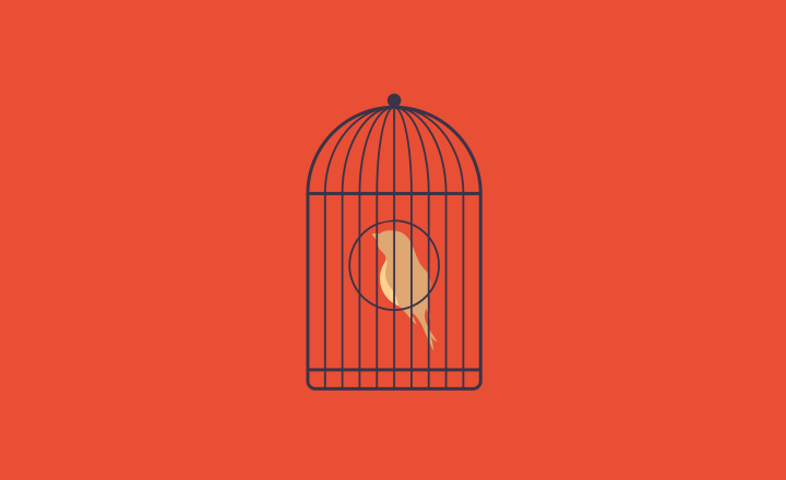 Illustration of a bird in a cage