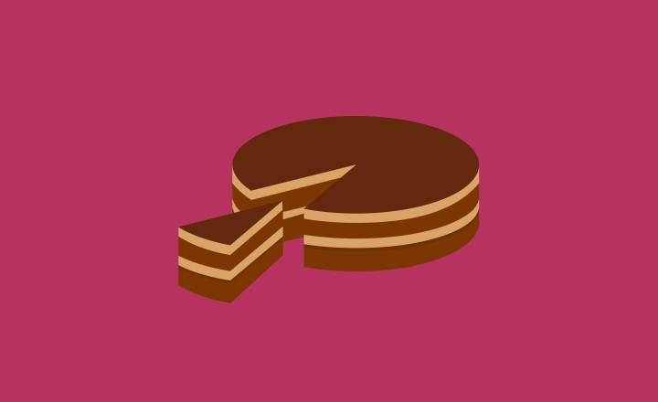 Illustration of a large chocolate cake