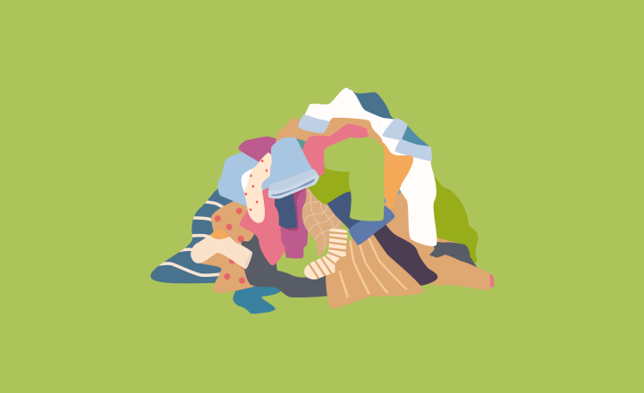 An illustration of a pile of clothing on the floor. the clothing is multi-coloured and the background colour is lime green.