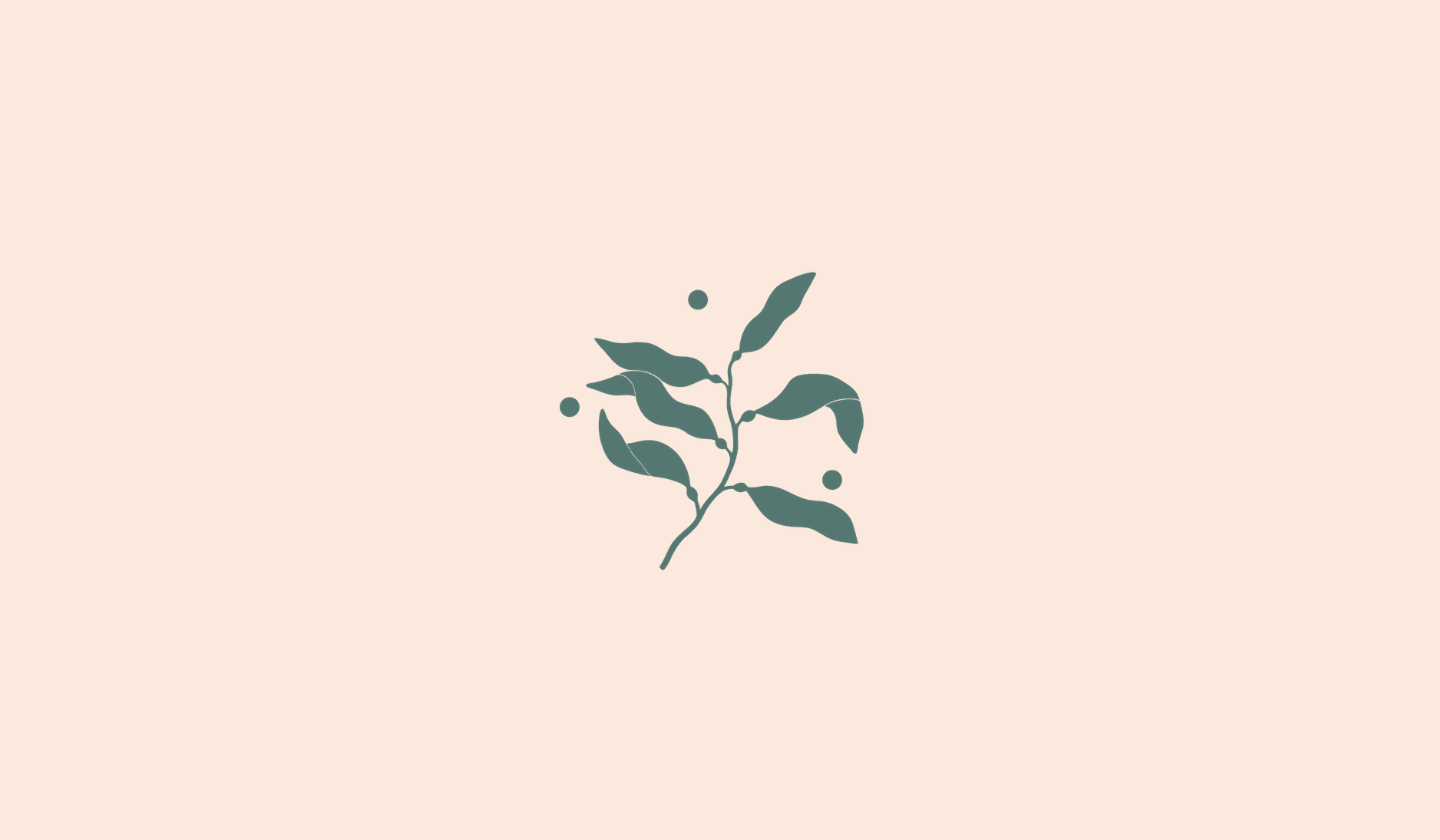 A delicate illustration of sea kelp in a moss green colour with a soft peach background.