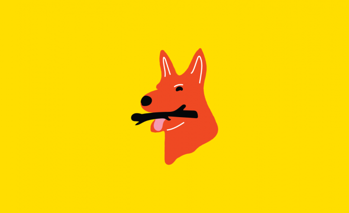 An illustation of a red doggo against a yellow background