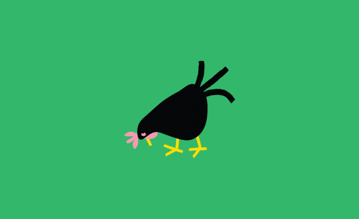 An illustration of a black chicken pecking on the ground. The background is bright green.