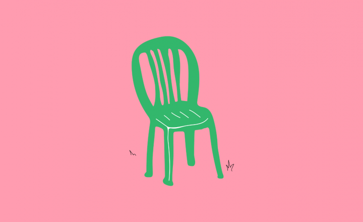 An illustration of a green deck chair and bright pink background
