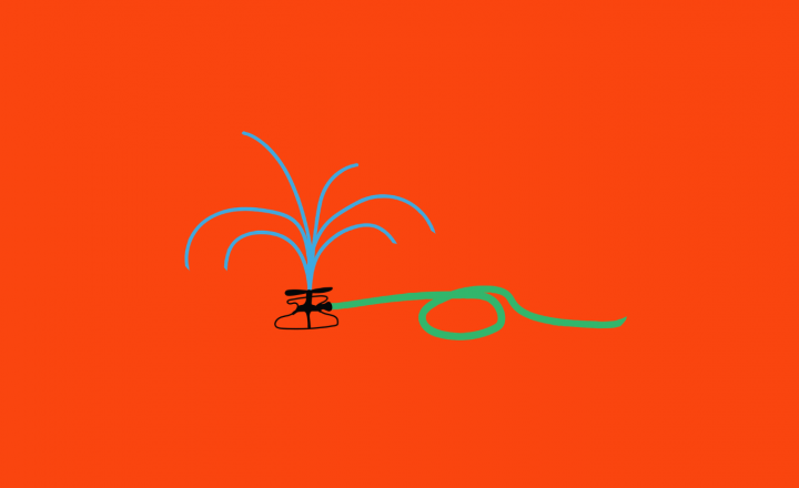 An illustration of a lawn sprinkler against a red background.