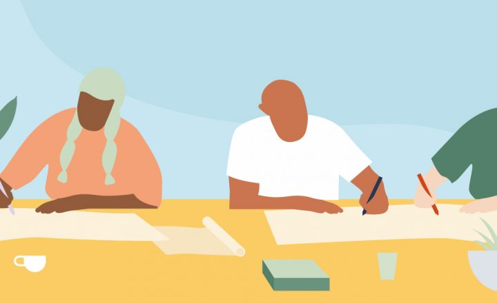 An illustration of different people writing together at a desk.