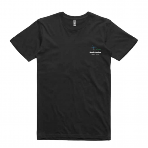 A photogtaph of a t-shirt. On the front is a small white Backstories logo. Above it is a cute illustration of a sprinkler.