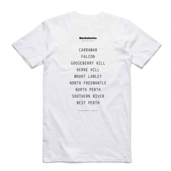 A photograph of a t-shirt. On the back, it has a small black Backstories logo at the top, and below in a list is the name of each suburb that the Backstories events are located at.