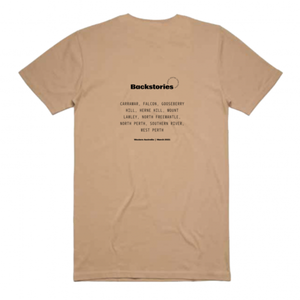 A photograph of a t-shirt. On the back of the tan t-shirt it says 'Backstories' in black and bold across the top. Underneath it lists the locations of each Backstories event.