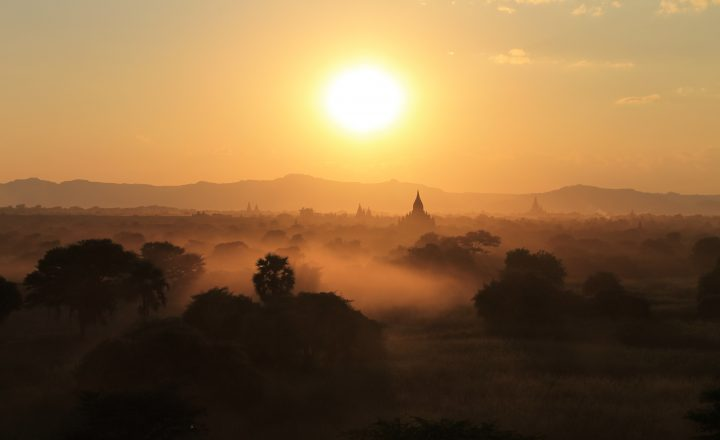 Photo of a sunset in Burma