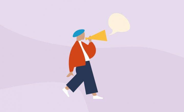 Graphic illustration of a person walking while speaking into a megaphone