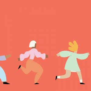 Graphic illustration of four people running and skipping